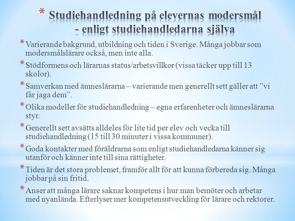 * Varierande bakgrund, utbildning och tiden i Sverige. Många jobbar som modersmålslärare också, men inte alla. * Stödformens och lärarnas status/arbet