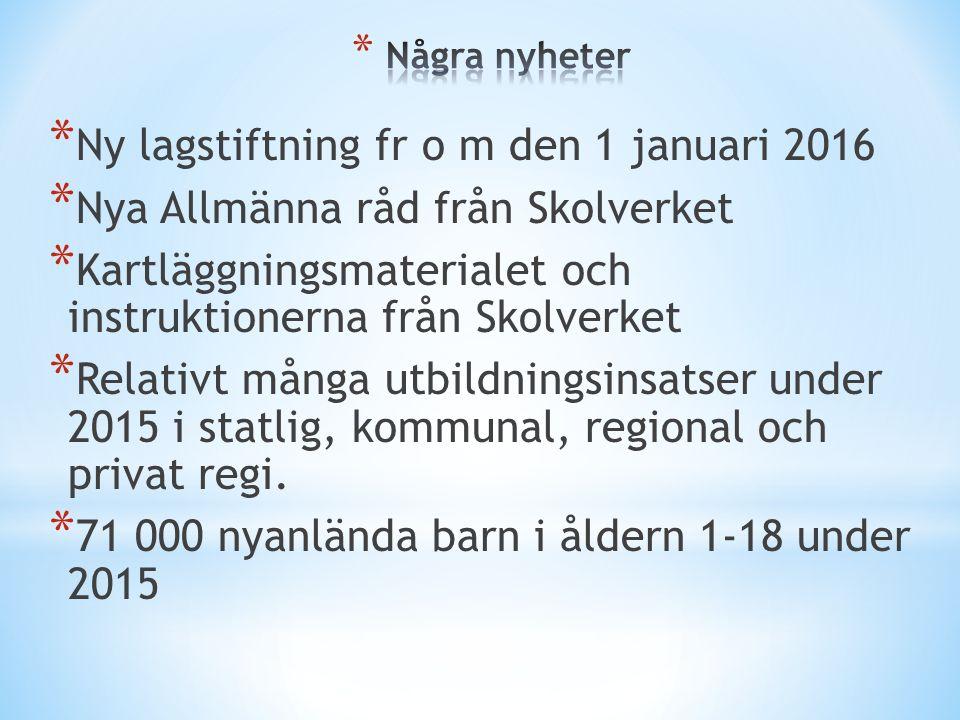 * Ny lagstiftning fr o m den 1 januari 2016 * Nya Allmänna råd från Skolverket * Kartläggningsmaterialet och instruktionerna från Skolverket * Relativ