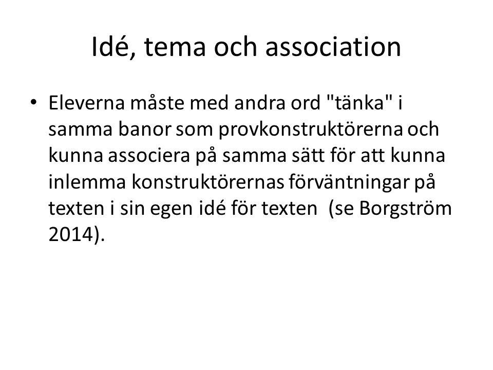 Idé, tema och association Eleverna måste med andra ord tänka i samma banor som provkonstruktörerna och kunna associera på samma sätt för att kunna inlemma konstruktörernas förväntningar på texten i sin egen idé för texten (se Borgström 2014).
