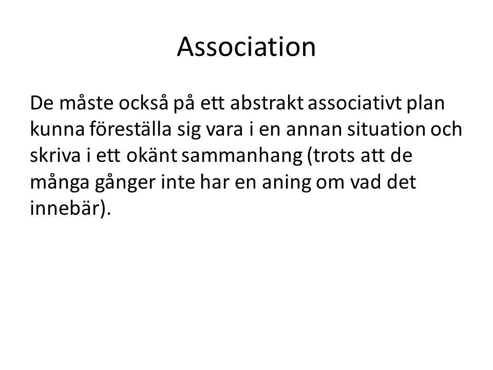 Association De måste också på ett abstrakt associativt plan kunna föreställa sig vara i en annan situation och skriva i ett okänt sammanhang (trots att de många gånger inte har en aning om vad det innebär).