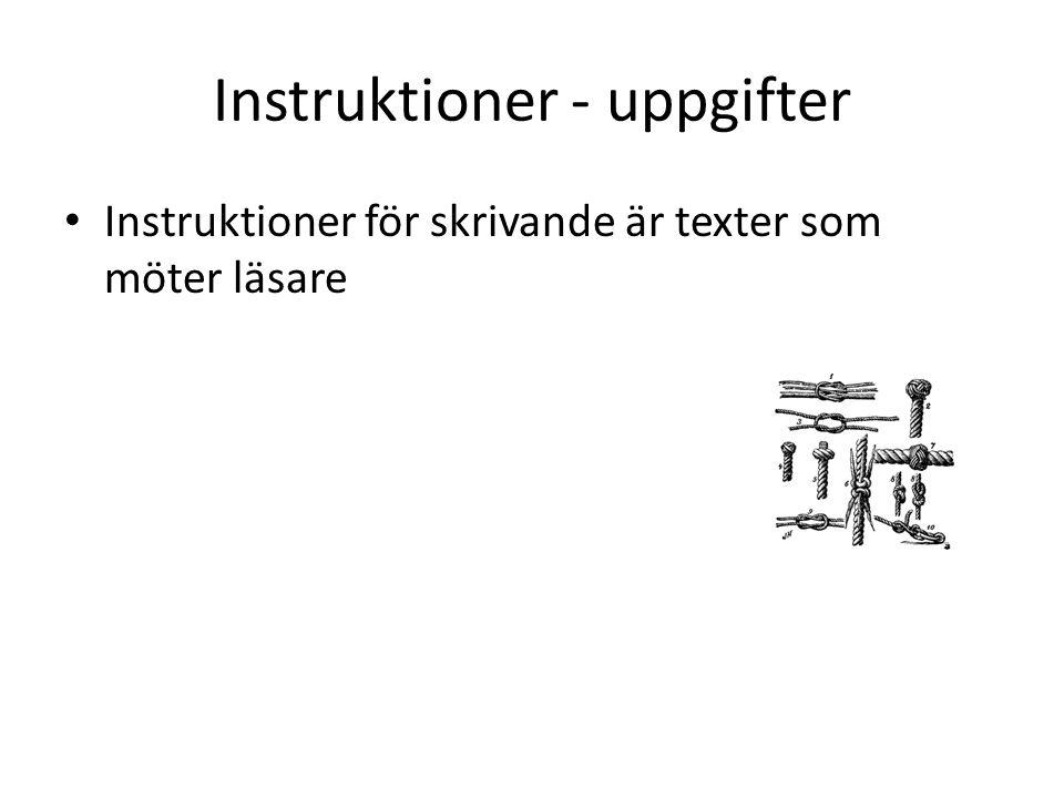 Instruktioner - uppgifter Instruktioner för skrivande är texter som möter läsare