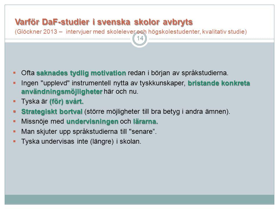 Varför DaF-studieri svenskaskoloravbryts Varför DaF-studier i svenska skolor avbryts (Glöckner 2013 – intervjuer med skolelever och högskolestudenter, kvalitativ studie) saknades tydlig motivation  Ofta saknades tydlig motivation redan i början av språkstudierna.