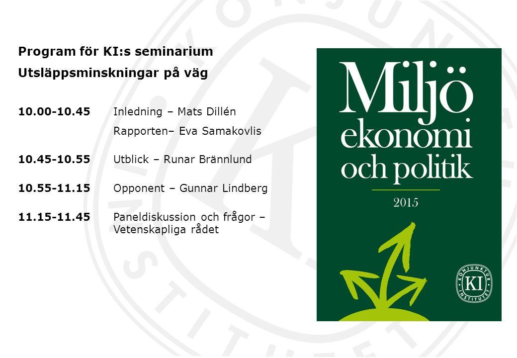 Program för KI:s seminarium Utsläppsminskningar på väg 10.00-10.45 Inledning – Mats Dillén Rapporten– Eva Samakovlis 10.45-10.55Utblick – Runar Brännl