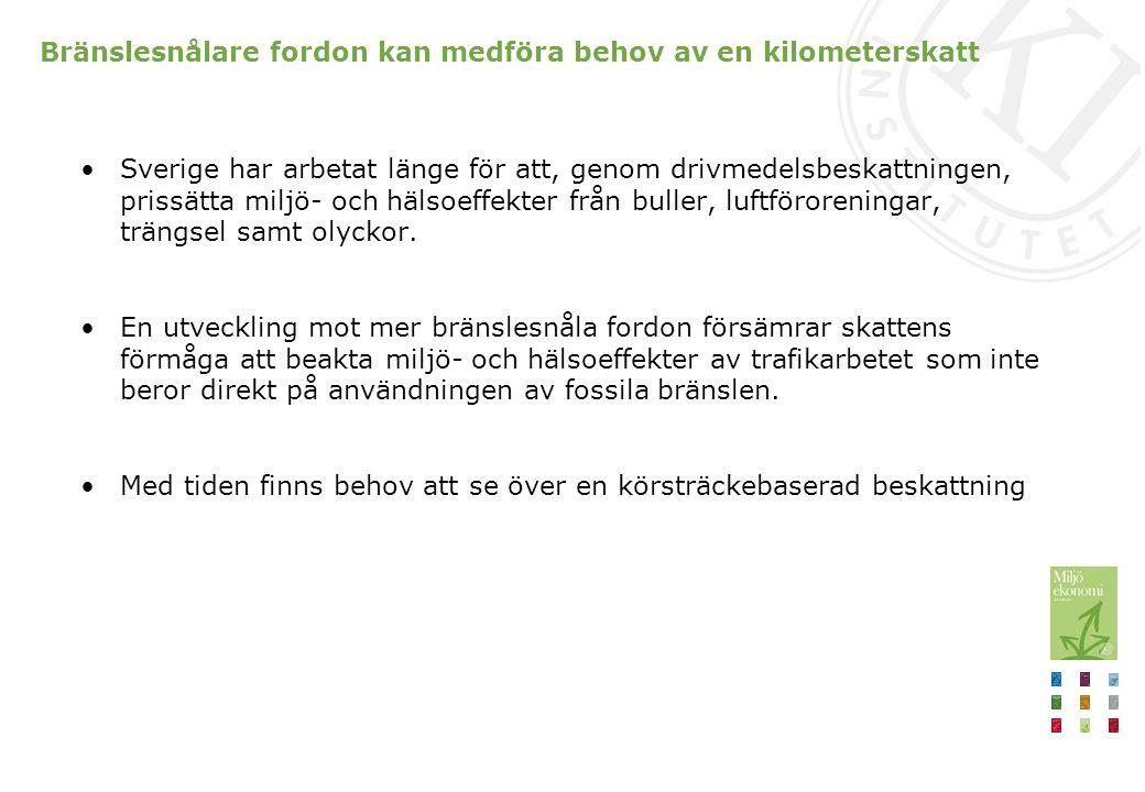 Bränslesnålare fordon kan medföra behov av en kilometerskatt Sverige har arbetat länge för att, genom drivmedelsbeskattningen, prissätta miljö- och hä
