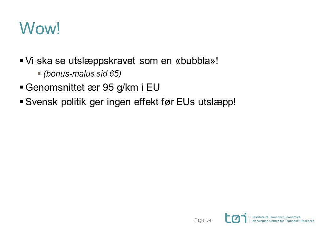 Page Wow!  Vi ska se utslæppskravet som en «bubbla»!  (bonus-malus sid 65)  Genomsnittet ær 95 g/km i EU  Svensk politik ger ingen effekt før EUs