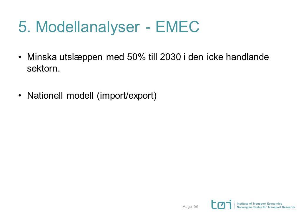 Page 5. Modellanalyser - EMEC Minska utslæppen med 50% till 2030 i den icke handlande sektorn. Nationell modell (import/export) 66