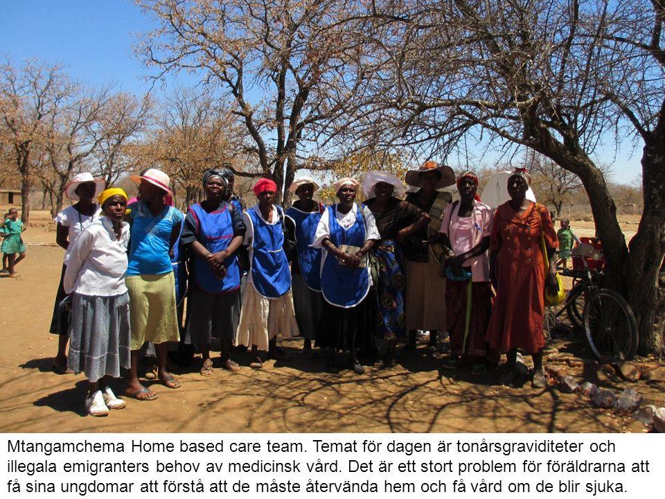 Homebasecard kurs i Gungwe där de övar och talar om hur man tar hand om en patient.