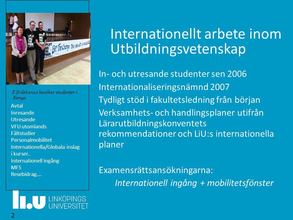 Internationellt arbete inom Utbildningsvetenskap In- och utresande studenter sen 2006 Internationaliseringsnämnd 2007 Tydligt stöd i fakultetsledning
