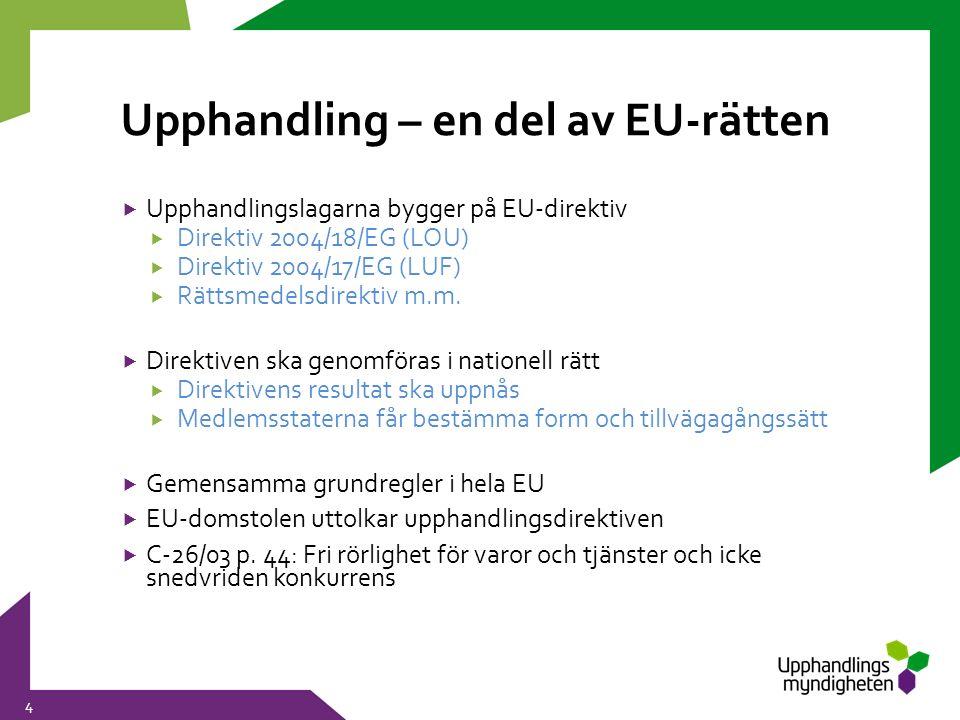 Upphandling – en del av EU-rätten 4  Upphandlingslagarna bygger på EU-direktiv  Direktiv 2004/18/EG (LOU)  Direktiv 2004/17/EG (LUF)  Rättsmedelsd