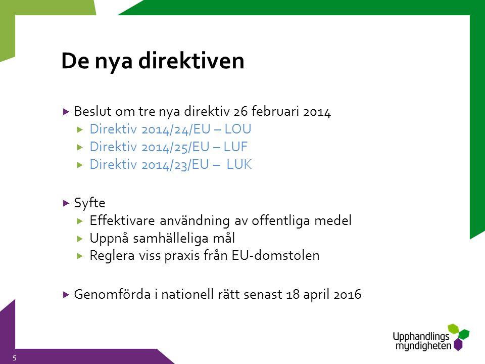 De nya direktiven 5  Beslut om tre nya direktiv 26 februari 2014  Direktiv 2014/24/EU – LOU  Direktiv 2014/25/EU – LUF  Direktiv 2014/23/EU – LUK