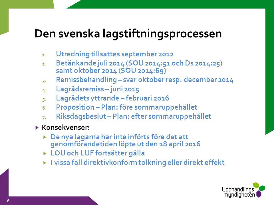 Den svenska lagstiftningsprocessen 6 1. Utredning tillsattes september 2012 2. Betänkande juli 2014 (SOU 2014:51 och Ds 2014:25) samt oktober 2014 (SO