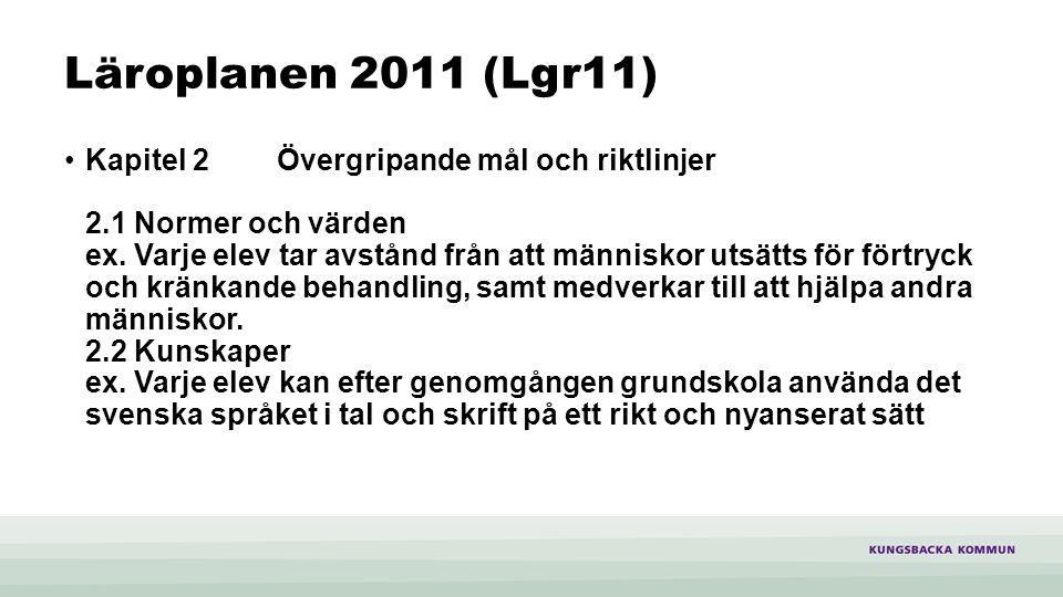 Läroplanen 2011 (Lgr11) Kapitel 2Övergripande mål och riktlinjer 2.1 Normer och värden ex.