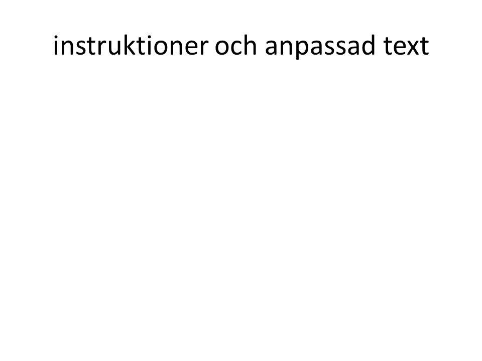 instruktioner och anpassad text