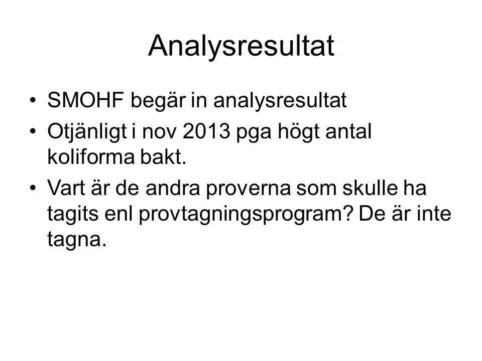 Analysresultat SMOHF begär in analysresultat Otjänligt i nov 2013 pga högt antal koliforma bakt. Vart är de andra proverna som skulle ha tagits enl pr