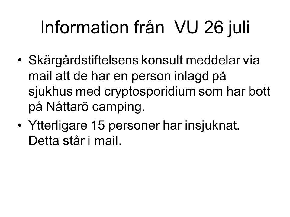 Slv och smittskydd kontaktas 26 juli Skärgårdstiftelsen uppmanas att ta prover på vattnet, mikro och på crypto Vi inväntar analyssvar med spänning