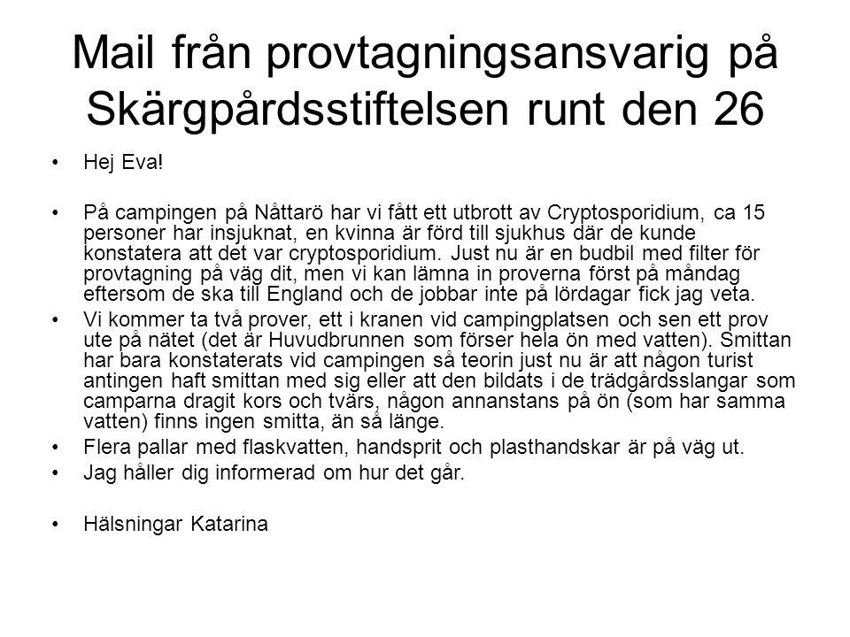 Mail från provtagningsansvarig på Skärgpårdsstiftelsen runt den 26 Hej Eva! På campingen på Nåttarö har vi fått ett utbrott av Cryptosporidium, ca 15