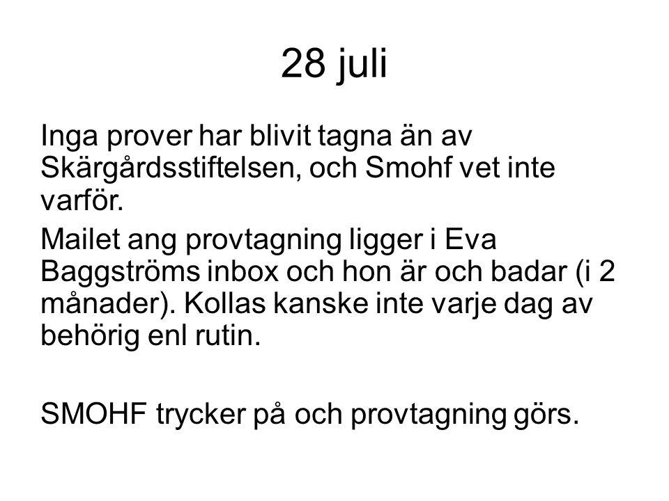 28 juli Inga prover har blivit tagna än av Skärgårdsstiftelsen, och Smohf vet inte varför. Mailet ang provtagning ligger i Eva Baggströms inbox och ho