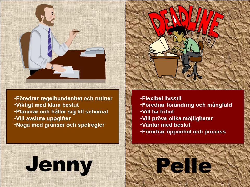 Jenny Pelle Flexibel livsstil Föredrar förändring och mångfald Vill ha frihet Vill pröva olika möjligheter Väntar med beslut Föredrar öppenhet och process Föredrar regelbundenhet och rutiner Viktigt med klara beslut Planerar och håller sig till schemat Vill avsluta uppgifter Noga med gränser och spelregler