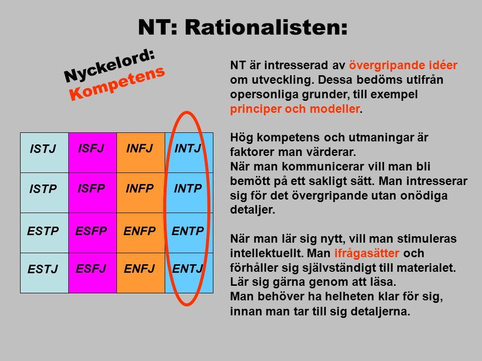 ISTJ ISFJINFJINTJ ISTP ISFPINFPINTP ESTP ESFPENFPENTP ESTJ ESFJENFJENTJ NT: Rationalisten: NT är intresserad av övergripande idéer om utveckling.