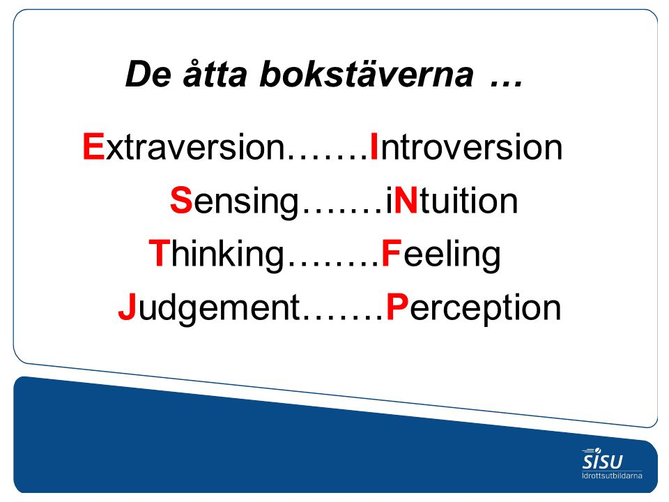 Extraversion…….Introversion Sensing….…iNtuition Thinking….….Feeling Judgement…….Perception De åtta bokstäverna …