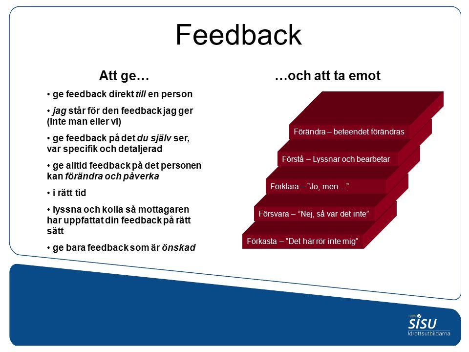 Feedback …och att ta emotAtt ge… ge feedback direkt till en person jag står för den feedback jag ger (inte man eller vi) ge feedback på det du själv ser, var specifik och detaljerad ge alltid feedback på det personen kan förändra och påverka i rätt tid lyssna och kolla så mottagaren har uppfattat din feedback på rätt sätt ge bara feedback som är önskad Förkasta – Det här rör inte mig Försvara – Nej, så var det inte Förklara – Jo, men… Förstå – Lyssnar och bearbetar Förändra – beteendet förändras