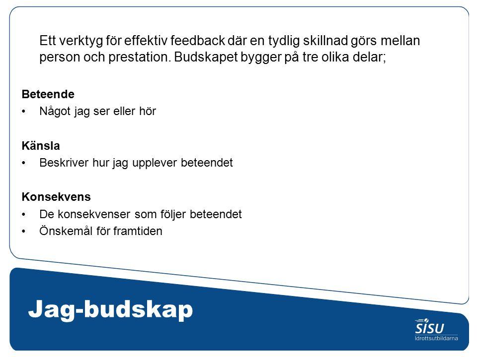 Jag-budskap Ett verktyg för effektiv feedback där en tydlig skillnad görs mellan person och prestation.