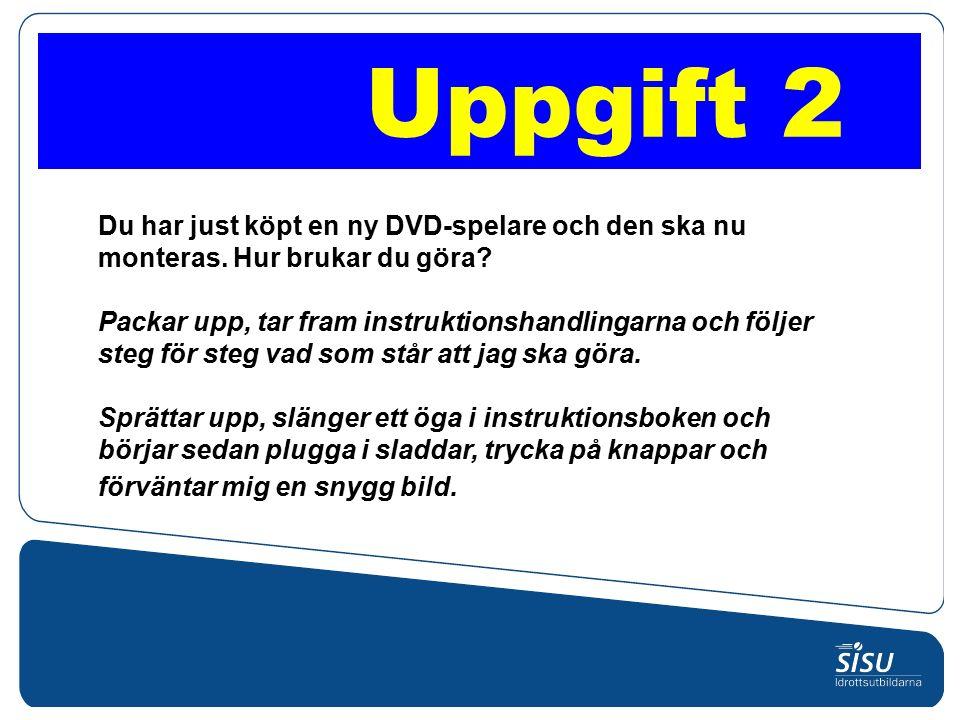 Du har just köpt en ny DVD-spelare och den ska nu monteras.