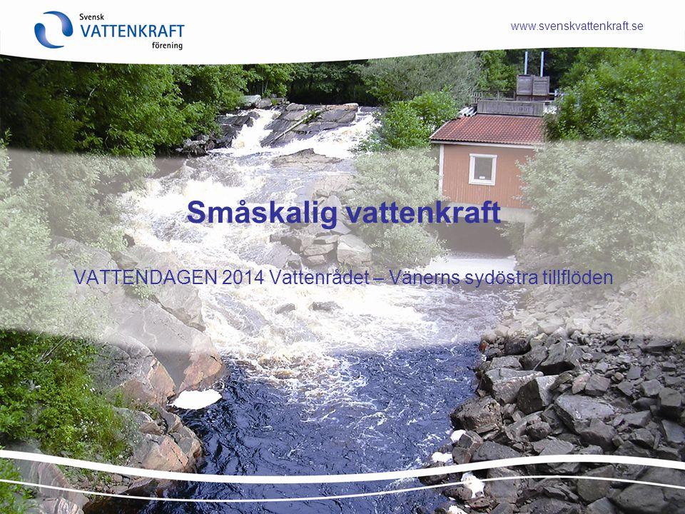 www.svenskvattenkraft.se Småskalig vattenkraft VATTENDAGEN 2014 Vattenrådet – Vänerns sydöstra tillflöden