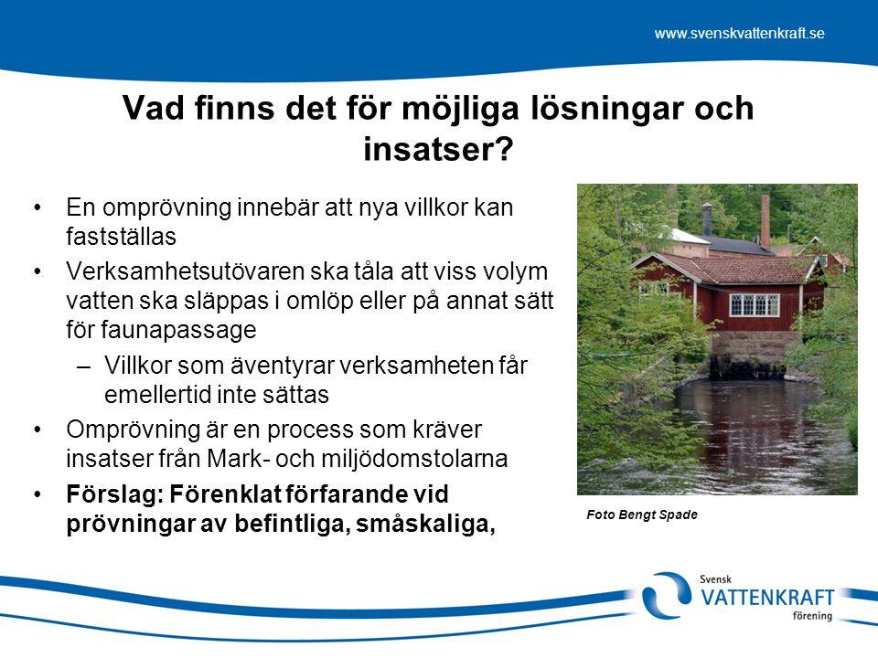 www.svenskvattenkraft.se Vad finns det för möjliga lösningar och insatser.