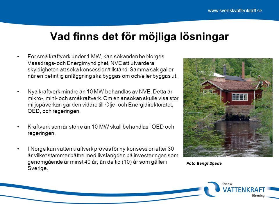 www.svenskvattenkraft.se Vad finns det för möjliga lösningar För små kraftverk under 1 MW, kan sökanden be Norges Vassdrags- och Energimyndighet, NVE att utvärdera skyldigheten att söka konsession/tillstånd.