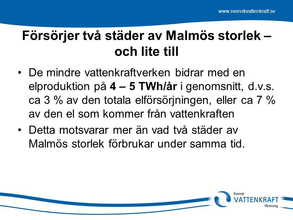 www.svenskvattenkraft.se Försörjer två städer av Malmös storlek – och lite till De mindre vattenkraftverken bidrar med en elproduktion på 4 – 5 TWh/år i genomsnitt, d.v.s.