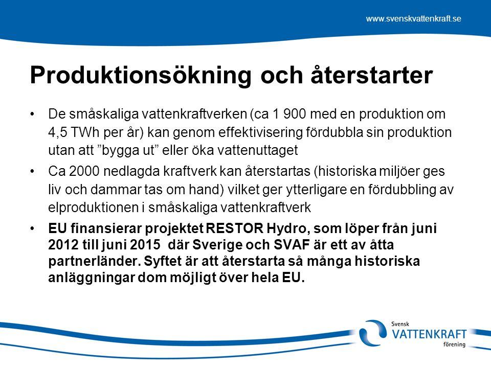 www.svenskvattenkraft.se Produktionsökning och återstarter De småskaliga vattenkraftverken (ca 1 900 med en produktion om 4,5 TWh per år) kan genom effektivisering fördubbla sin produktion utan att bygga ut eller öka vattenuttaget Ca 2000 nedlagda kraftverk kan återstartas (historiska miljöer ges liv och dammar tas om hand) vilket ger ytterligare en fördubbling av elproduktionen i småskaliga vattenkraftverk EU finansierar projektet RESTOR Hydro, som löper från juni 2012 till juni 2015 där Sverige och SVAF är ett av åtta partnerländer.