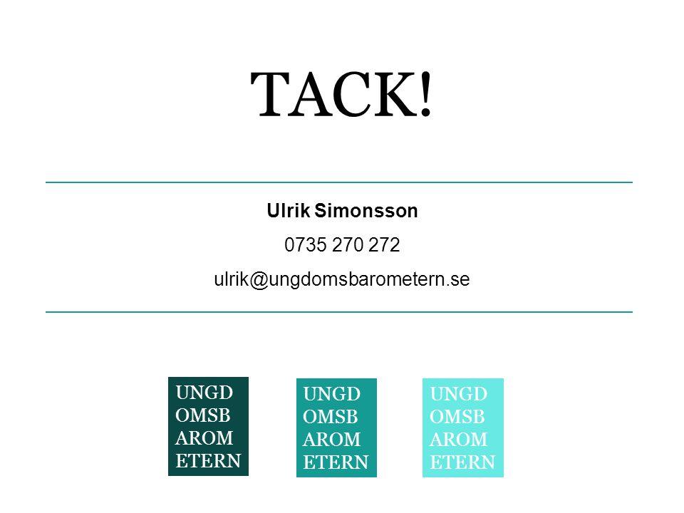 TACK! Ulrik Simonsson 0735 270 272 ulrik@ungdomsbarometern.se UNGD OMSB AROM ETERN