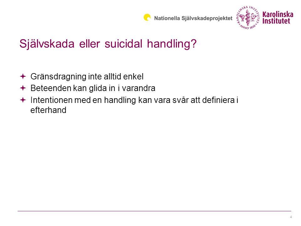 Självskada eller suicidal handling.