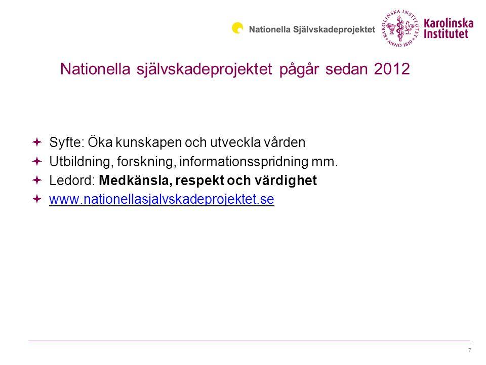 Nationella självskadeprojektet pågår sedan 2012  Syfte: Öka kunskapen och utveckla vården  Utbildning, forskning, informationsspridning mm.