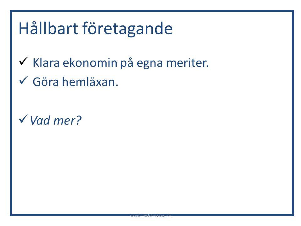 Hållbart företagande Klara ekonomin på egna meriter. Göra hemläxan. Vad mer? www.christerowe.se