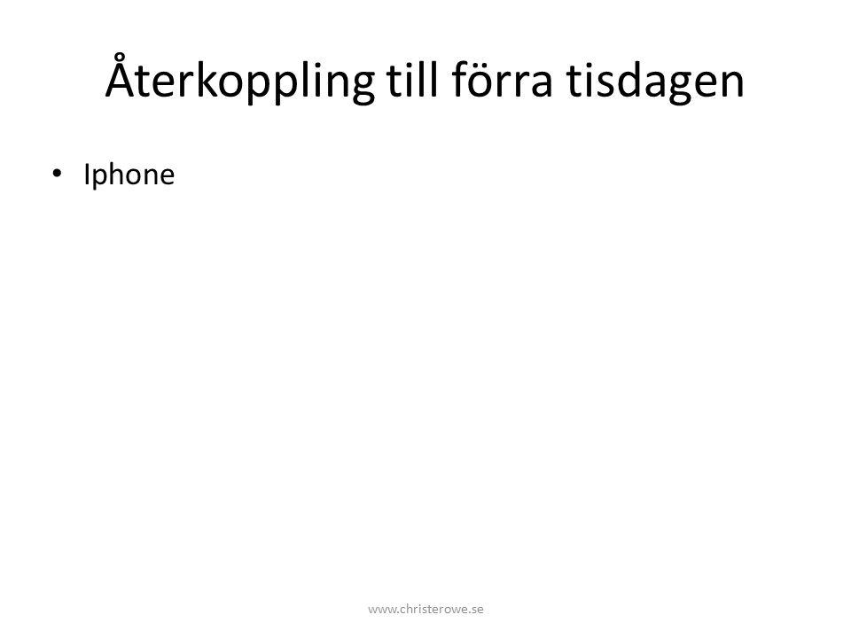 Återkoppling till förra tisdagen Iphone www.christerowe.se