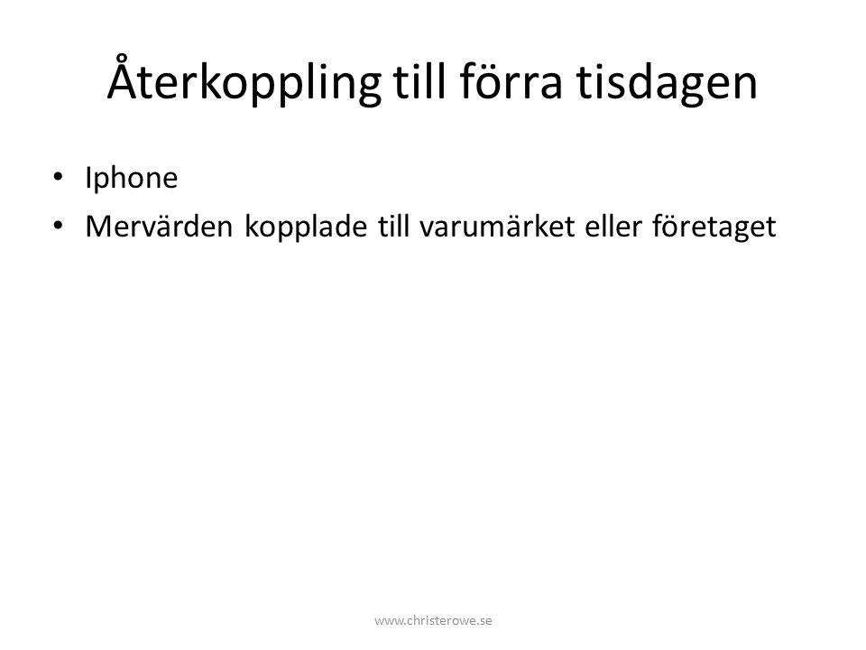 Återkoppling till förra tisdagen Iphone Mervärden kopplade till varumärket eller företaget www.christerowe.se