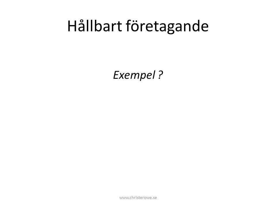 Hållbart företagande Exempel ? www.christerowe.se