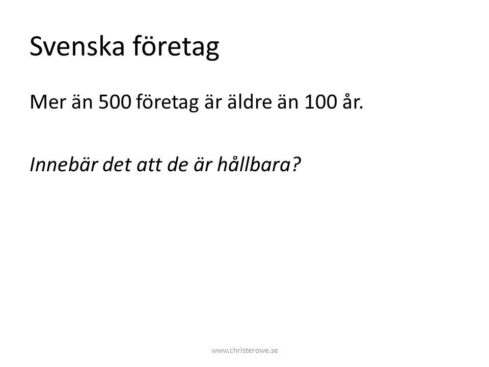 Svenska företag Mer än 500 företag är äldre än 100 år.