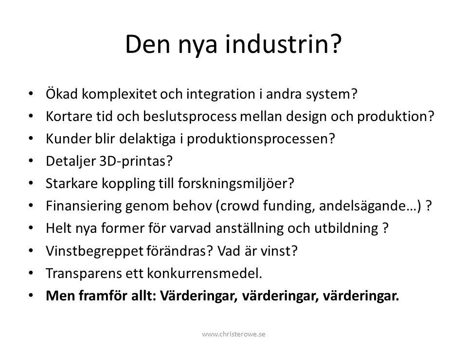 Den nya industrin. Ökad komplexitet och integration i andra system.