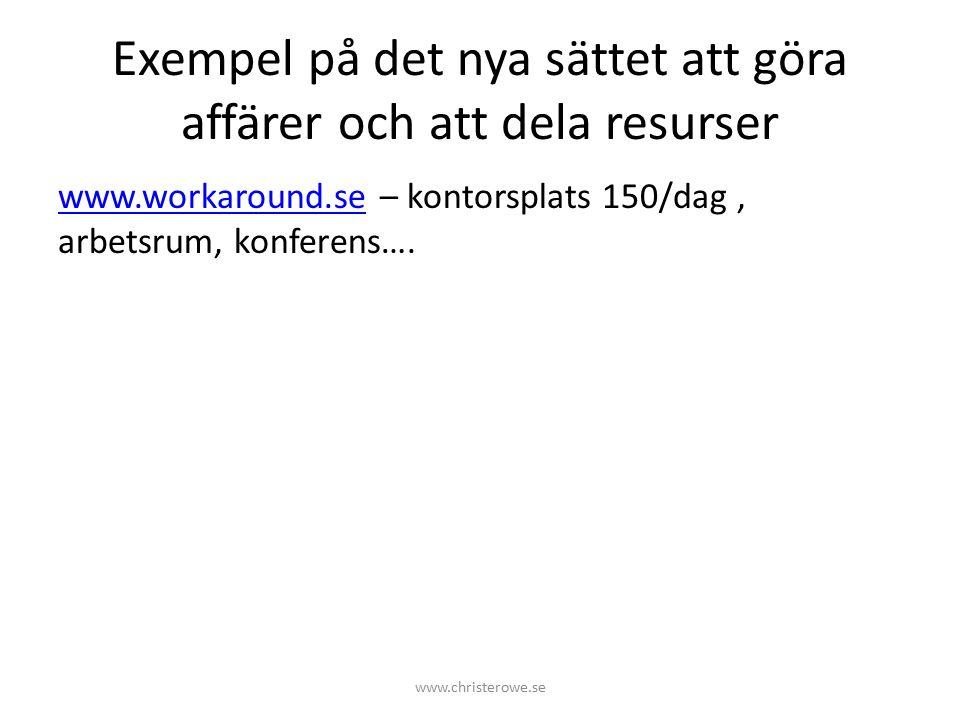 Exempel på det nya sättet att göra affärer och att dela resurser www.workaround.sewww.workaround.se – kontorsplats 150/dag, arbetsrum, konferens….