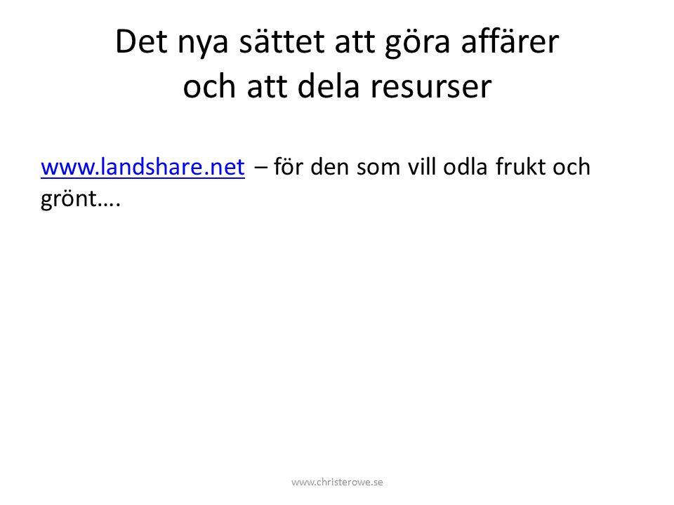 Det nya sättet att göra affärer och att dela resurser www.landshare.netwww.landshare.net – för den som vill odla frukt och grönt….