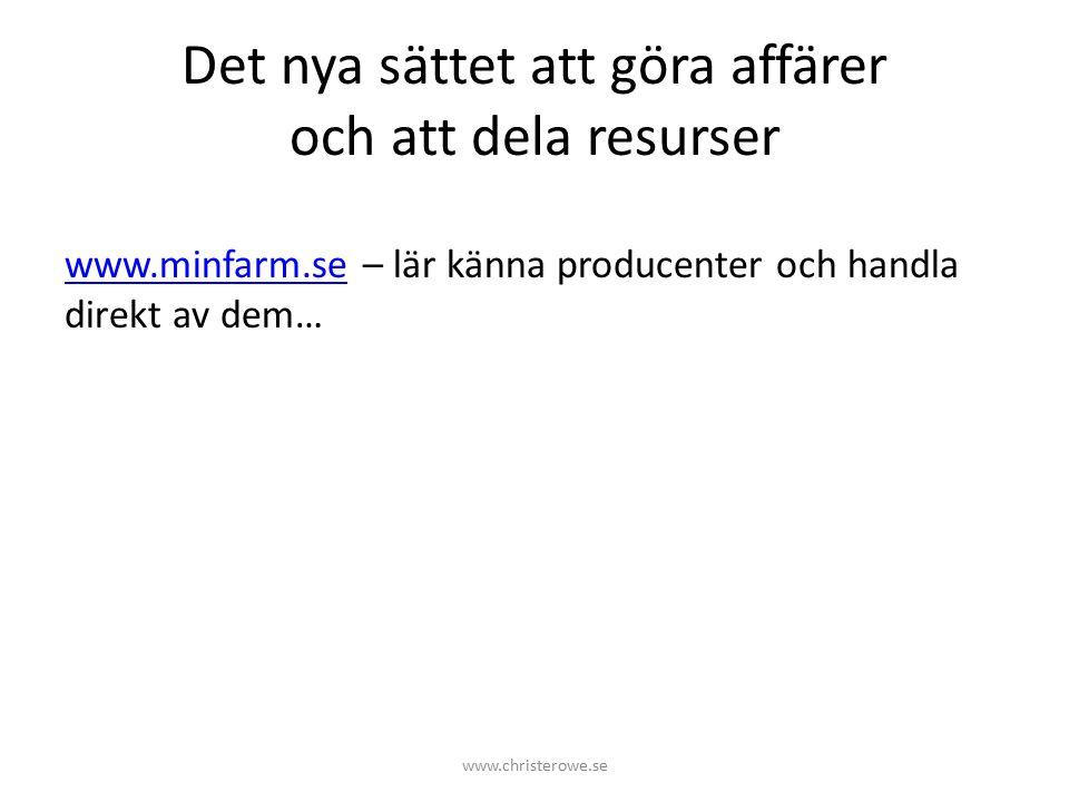 Det nya sättet att göra affärer och att dela resurser www.minfarm.sewww.minfarm.se – lär känna producenter och handla direkt av dem… www.christerowe.se