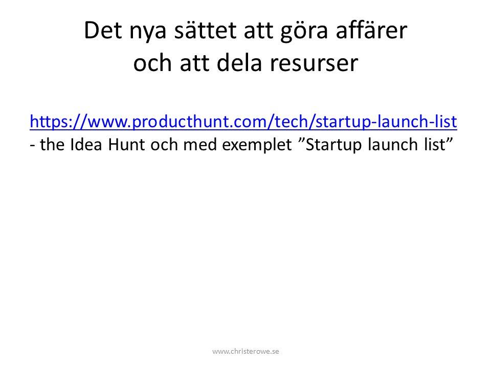 Det nya sättet att göra affärer och att dela resurser https://www.producthunt.com/tech/startup-launch-list https://www.producthunt.com/tech/startup-launch-list - the Idea Hunt och med exemplet Startup launch list www.christerowe.se