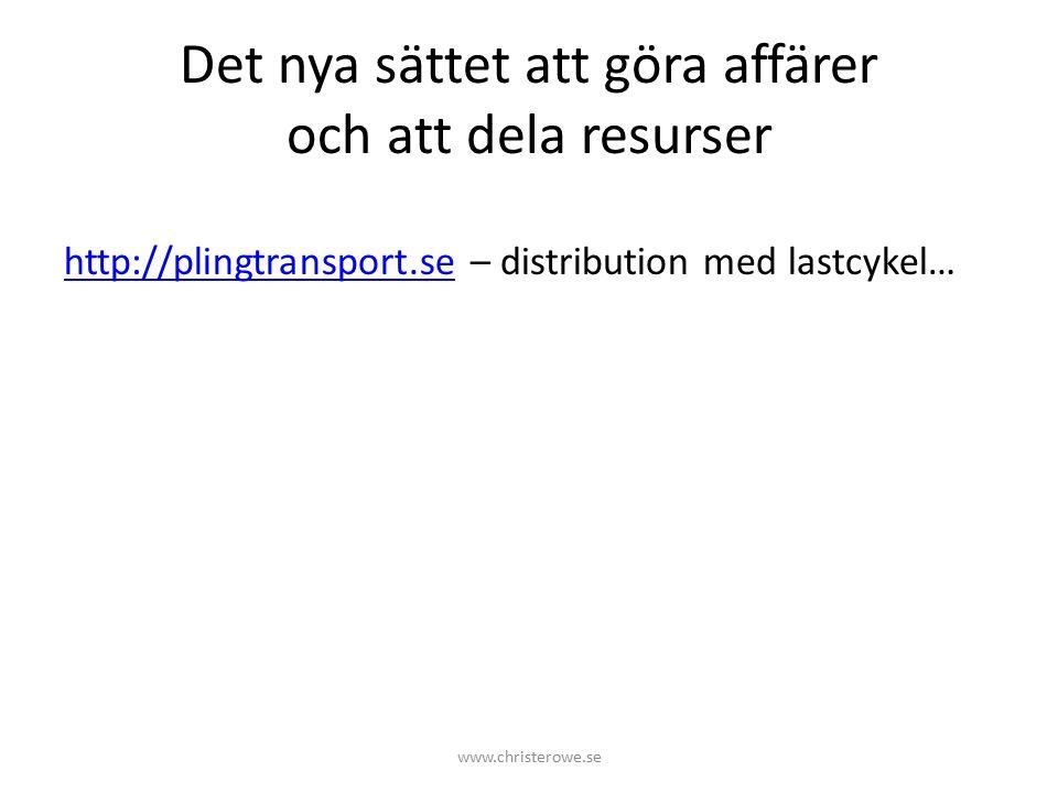 Det nya sättet att göra affärer och att dela resurser http://plingtransport.sehttp://plingtransport.se – distribution med lastcykel… www.christerowe.se