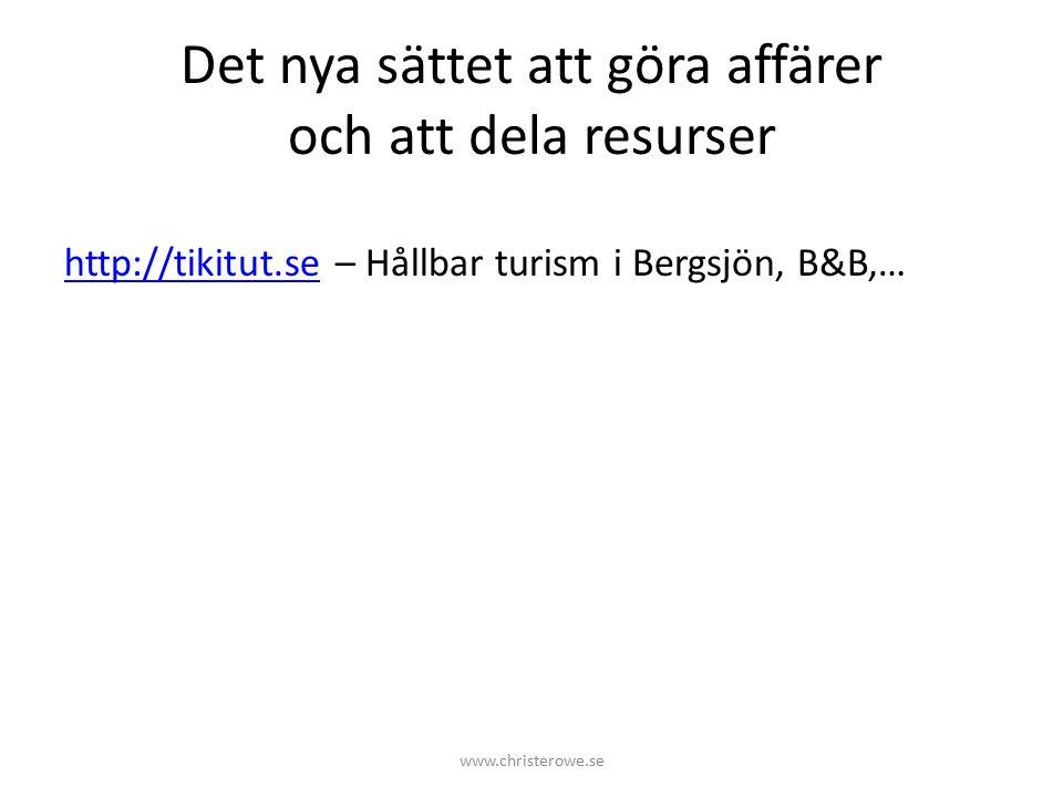 Det nya sättet att göra affärer och att dela resurser http://tikitut.sehttp://tikitut.se – Hållbar turism i Bergsjön, B&B,… www.christerowe.se