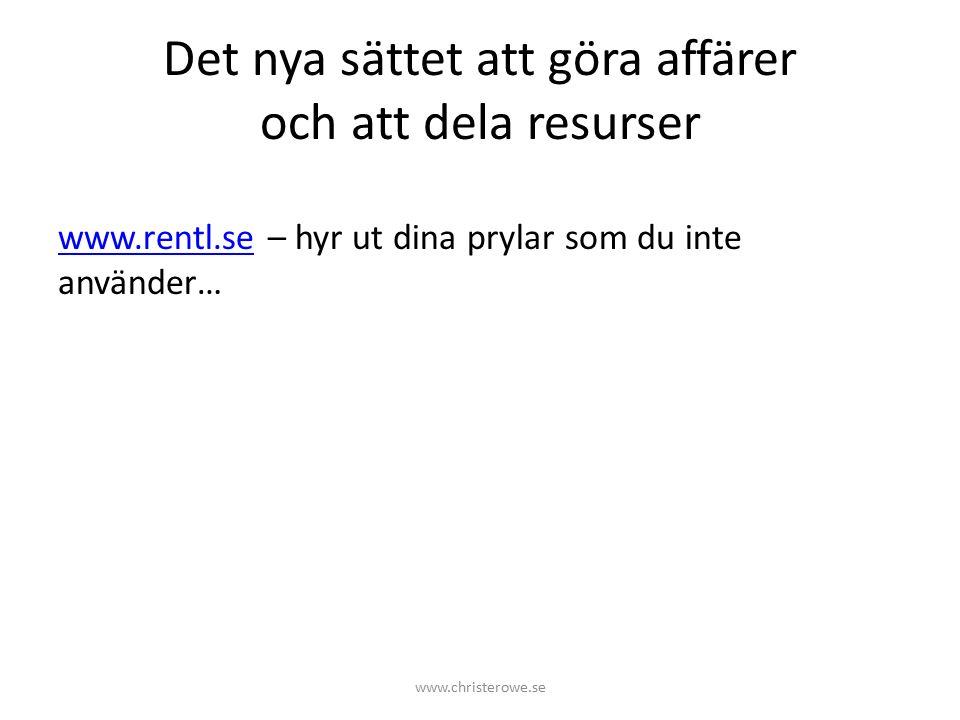 Det nya sättet att göra affärer och att dela resurser www.rentl.sewww.rentl.se – hyr ut dina prylar som du inte använder… www.christerowe.se