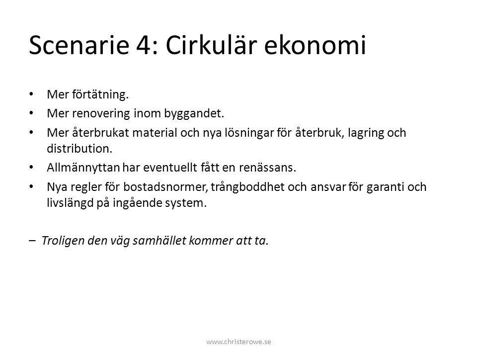 Scenarie 4: Cirkulär ekonomi Mer förtätning. Mer renovering inom byggandet.