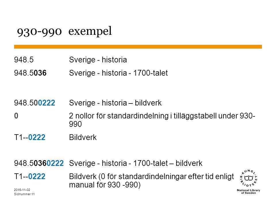 Sidnummer 11 930-990 exempel 948.5Sverige - historia 948.5036Sverige - historia - 1700-talet 948.500222 Sverige - historia – bildverk 02 nollor för standardindelning i tilläggstabell under 930- 990 T1--0222 Bildverk 948.50360222 Sverige - historia - 1700-talet – bildverk T1--0222 Bildverk (0 för standardindelningar efter tid enligt manual för 930 -990) 2015-11-02